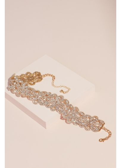 Pave Crystal Strand Interlocking Floral Choker - Strands of pave crystals intertwine and create interlocking