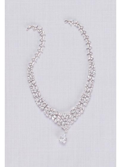 Natasha Grey (Leafy Crystal Necklace with Teardrop Pendant)