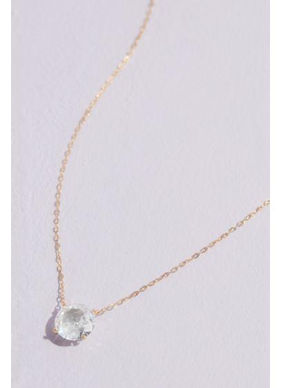 18K 8MM Cubic Zirconia Pendant Necklace - Wedding Accessories