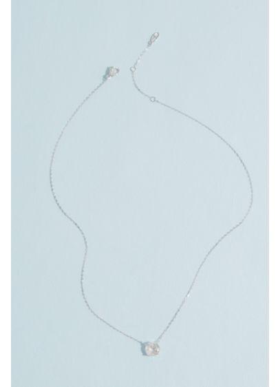 Rhodium 8MM Cubic Zirconia Pendant Necklace - Wedding Accessories