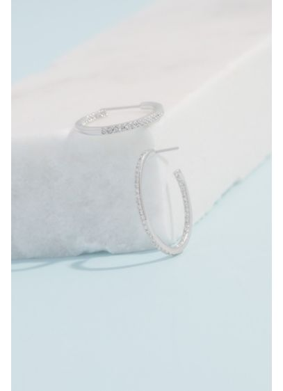 Rhodium and Cubic Zirconia Pave Slim Hoops - Simple, elegant, and encrusted with pave cubic zirconia