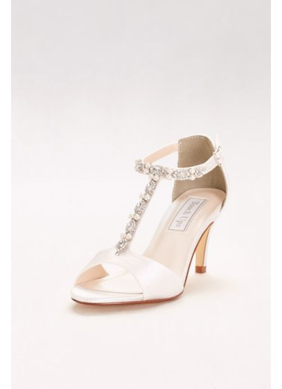 Dyeable Crystal-Embellished T-Strap Heels - Gorgeous crystal and pearl T-straps add elegance to