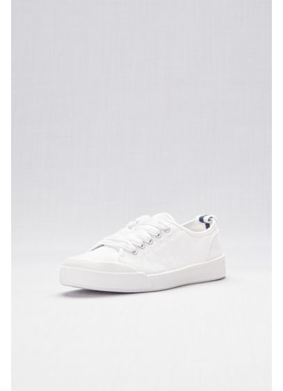 Classic Lace-Up Canvas Sneakers - For a comfortable stride down the aisle, turn
