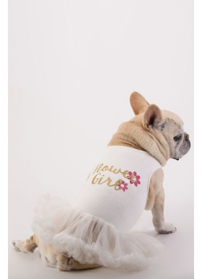 White (Flower Girl Glitter Script Dog Dress)