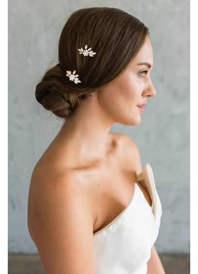 Brides and Hairpins Grey (Swarovski Crystal Flower and Leaf Comb Set)