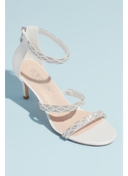 Blossom White (Triple Beaded Strap Heeled Sandals)
