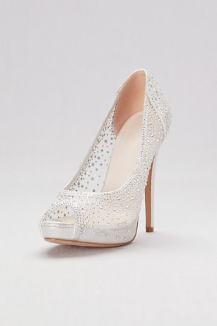 David's Bridal Grey Peep Toe Shoes (Sheer Mesh Peep-Toe Platform Heels with Crystals)