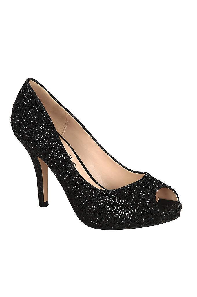 Allover Crystal Peep Toe Heel