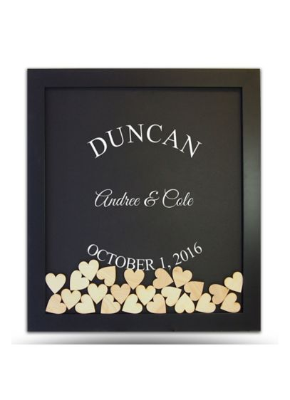 Pers Arched Name Drop Heart Guest Book Frame - Wedding Gifts & Decorations