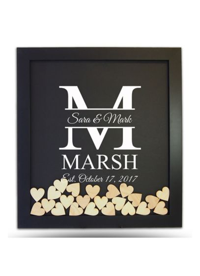 Pers Family Initial Drop Heart Guest Book Frame - Wedding Gifts & Decorations