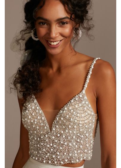 Embellished Spaghetti Strap Wedding Separates Top - From the spaghetti straps to the scalloped hem,