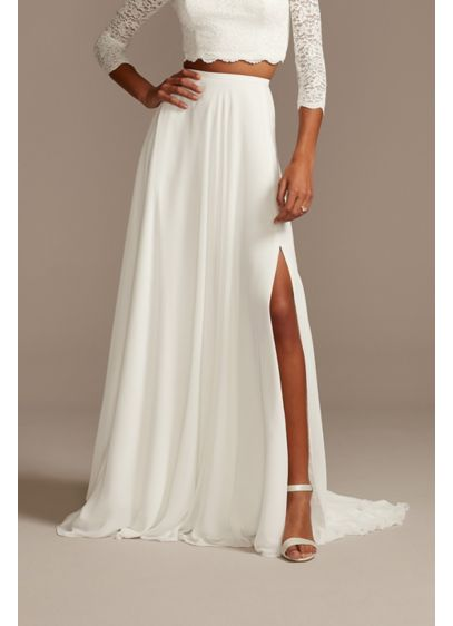 Chiffon Wedding Separates Circle Skirt with Slit - Floaty chiffon gives this plus size wedding separates