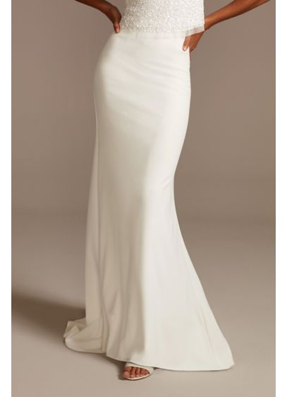 Stretch Crepe Sweep Train Wedding Separates Skirt - Crafted from stretch fabric, this crepe wedding separates