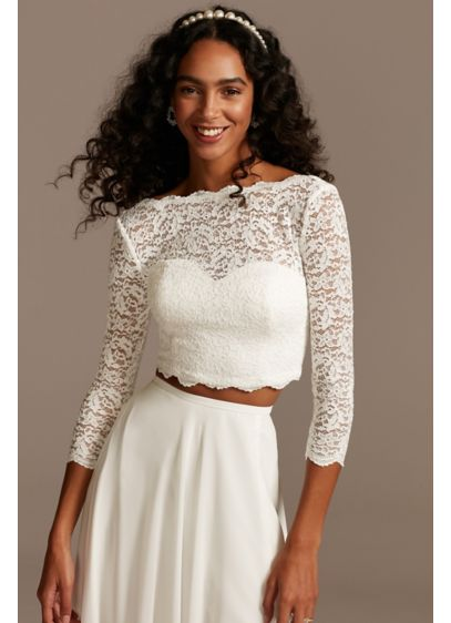 Scalloped Lace 3/4 Sleeve Wedding Separates Top - This lace three-quarter sleeve wedding separates top is