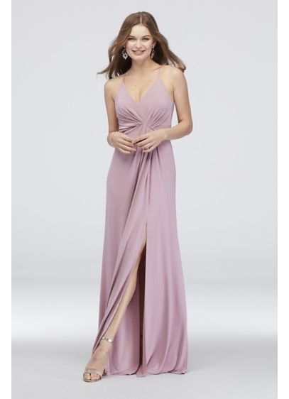 Drapey Jersey V-Neck Sheath with Gathered Waist - Topped with spaghetti straps and a V-neckline, this