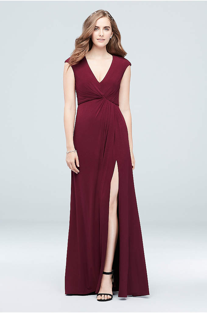 Gathered Jersey V-Neck Dress with Keyhole Back - Comfortable and modern, this stretch jersey gown cascades