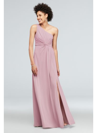 Long Red Soft & Flowy DB Studio Bridesmaid Dress