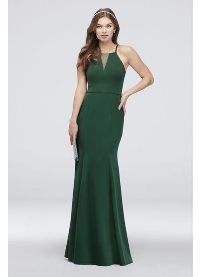 b6a155d43 High-Neck Mesh Inset Scuba Crepe Mermaid Dress - A chic illusion mesh inset  adorns