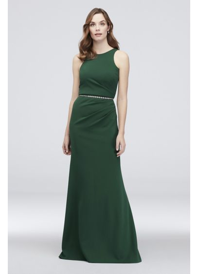 Draped Scuba Crepe High-Neck Sheath Dress - Simple and sophisticated, this stretchy scuba crepe sheath