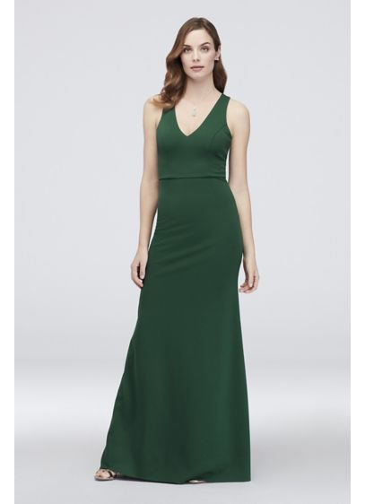 Scuba Crepe Mermaid Dress with V-Back - Although the front of this V-neck scuba crepe