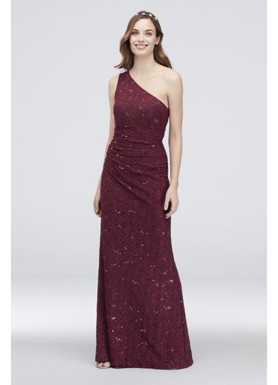 One-Shoulder Ruched Sequin Lace Sheath Dress - Crafted of shimmery sequin lace, this one-shoulder sheath