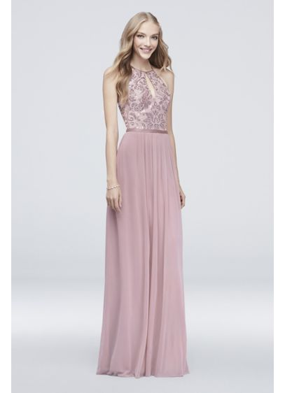 High-Neck Sequin and Mesh Gown with Keyhole - A lovely option for special occasions, this gown