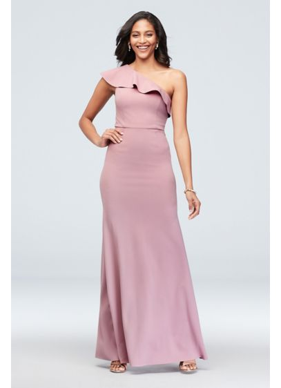 One-Shoulder Ruffled Scuba Crepe Dress - Sleek meets chic in this modern stretch-scuba crepe