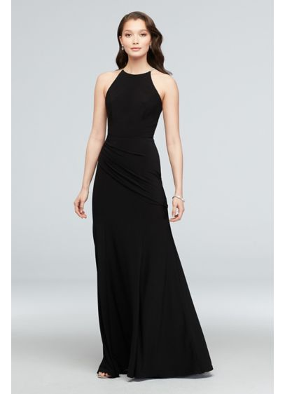 Jersey High Neck Dress with Crystal Straps - This high-neck jersey dress keeps it sleek and