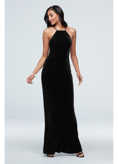 High Square Neck Velvet Long Dress - Slinky velvet, a square neckline, and skinny straps