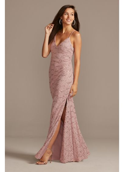 Long Pink Soft & Flowy DB Studio Bridesmaid Dress