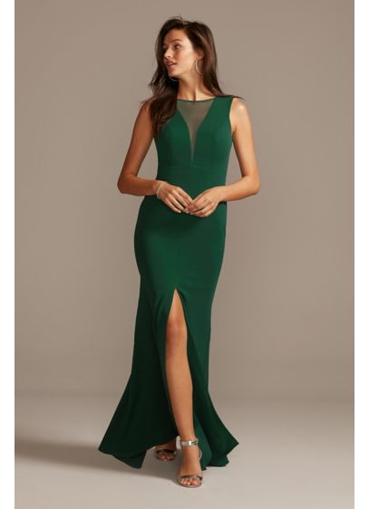 Illusion Deep-V Center Slit Stretch Crepe Dress - The perfect dress to wear for any special