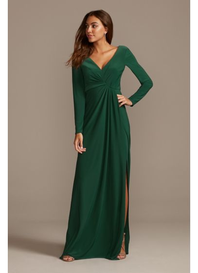 Long Sleeve Jersey V-Neck Dress with Slit - This sleek, sexy long sleeve dress features a