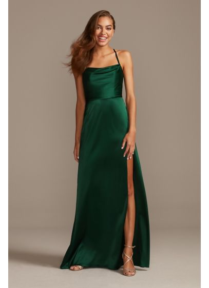 Shiny Charmeuse Cowl Neck Slip Dress with Slit - This slinky slip dress features a draped cowl