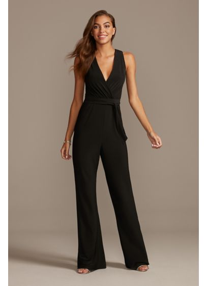 Jersey V-Neck Wrap Front Jumpsuit with Tie Belt - Delicate draping at the faux-wrap bodice and an