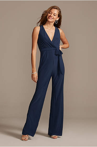 Jersey V-Neck Wrap Front Jumpsuit with Tie Belt