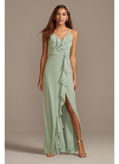 Long Blue Soft & Flowy DB Studio Bridesmaid Dress