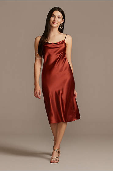 Midi Satin Slip Dress with Spaghetti Straps