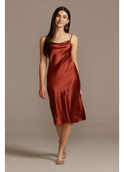 Midi Satin Slip Dress with Spaghetti Straps - Trend-right yet timeless, this body-skimming, lustrous midi satin