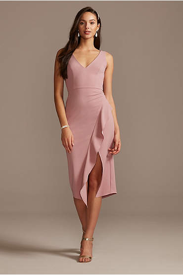 V-Neck Stretch Crepe Midi Dress with Ruffled  Slit