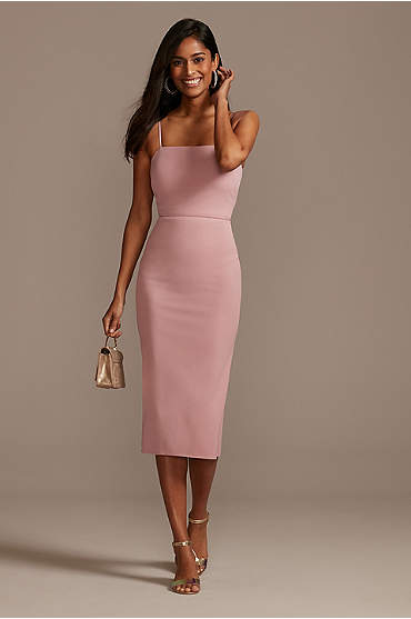 Spaghetti Strap Stretch Crepe Midi Dress
