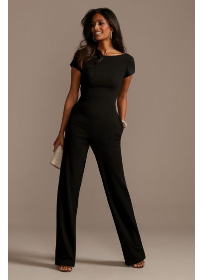Short Sleeve Stretch Crepe Jumpsuit with Open Back - For a cool, refined look for wedding parties