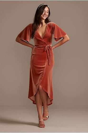 Velvet Flutter Sleeve Midi Dress with Tie Waist