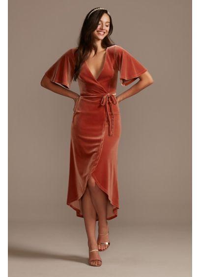 Velvet Flutter Sleeve Midi Dress with Tie Waist - Soft velvet gives this faux-wrap V-neck dress a