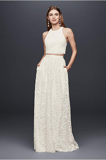 Crepe Crop Top and Lace Maxi Skirt Set