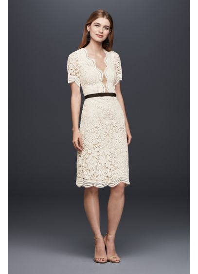 Illusion Lace Shift Dress with Contrast Ribbon - Wedding events on the calendar? Or dashing to