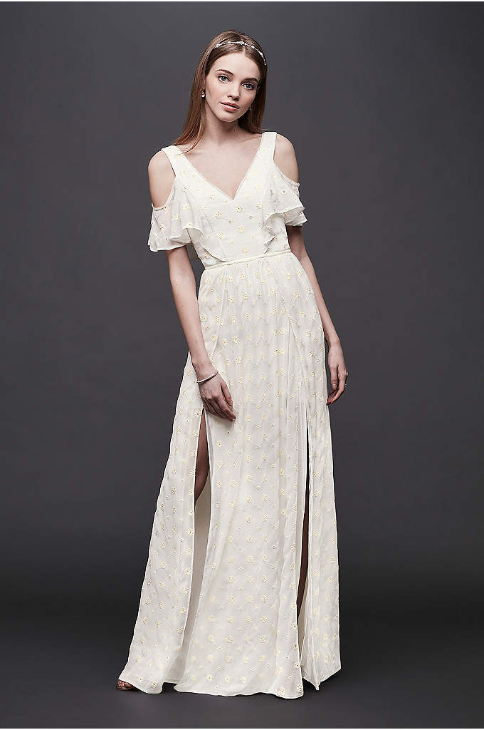 Chiffon Eyelet Sheath Wedding Dress with Ruffles - Perfect for a garden ceremony or beach wedding,