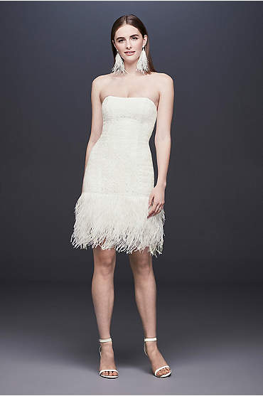 Strapless Lace Wedding Dress with Ostrich Feathers