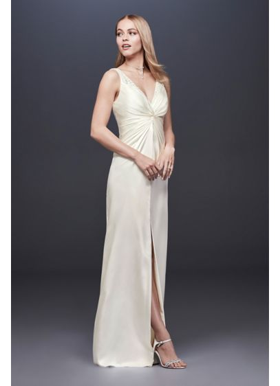 Ruched and Beaded Charmeuse Sheath Wedding Dress - Inspired by the glamour of 1950s starlets, this