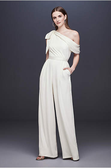One-Shoulder Crepe Wedding Jumpsuit with Bow