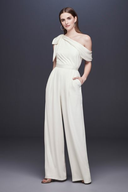 One Shoulder Crepe Wedding Jumpsuit With Bow Davids Bridal